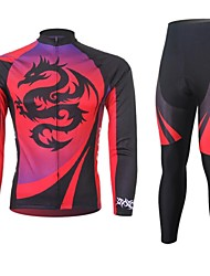 XINTOWN Men's Dragon Quick Dry Moisture Absorption Long Sleeve Cycling Suit—Red+Black