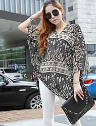 Women's Paisley Multi-color Shirt , Casual/Print/Plus Sizes ¾ Sleeve