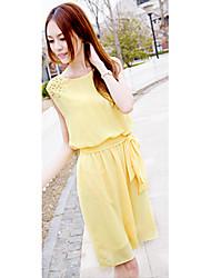 mode bali robe silm de causalité solide sans manches de couleur