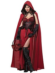 Cosplay Costumes / Party Costume Fairytale Festival/Holiday Halloween Costumes Red Patchwork Dress / Shawl Halloween Female Terylene