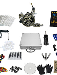 1 Gun Complete No Ink Tattoo Kit with Engraved Tatoo Machine and Ep-2 Power (Contain a Suitcase)