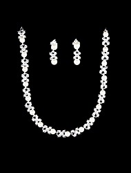 Women's Pearl Alloy Necklace Earrings  Set