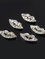 10pcs Sexy Lip Metal Full Clear Rhinestones 3D Alloy Nail Art Decoration