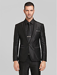 Suits Tailored Fit Slim Notch Single Breasted One-button Polyester 2 Pieces Black Straight Piped None (Flat Front) None (Flat Front)