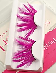 1 Pair Pink 100% Handmade Feather with  Plastic Black Terrier False Eyelashes