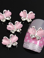 10pcs Flying Butterfly with Pink Cat's Eye Stone 3D Alloy Nail Art Decoration