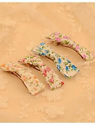 barrettes de tissus mode de bowknot de style jardin fleuri de couleur aléatoire