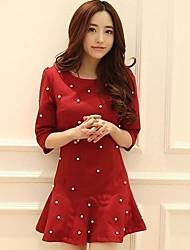 Women's Korean Slim Beaded Flounced Dress