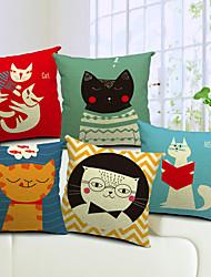 lot de 5 coton belle de chat / linge taie d'oreiller décoratif