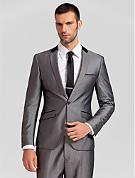 Suits Tailored Fit Slim Notch Single Breasted One-button Polyester 2 Pieces Gray Slanted Flapped None (Flat Front) None (Flat Front)