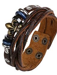 moda 20 centímetros pulseira de couro de couro marrom dos homens (1 pc)