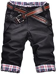 CONFIRA meados comprimento calças masculinas casuais