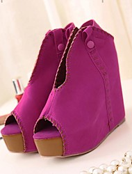 Women's Shoes Peep Toe Wedge Heel Flocking Pumps Shoes
