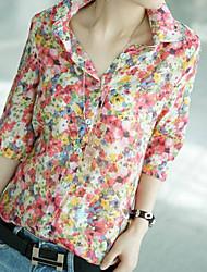 co co em torno do pescoço de impressão floral lazer camisa de Zhang mulheres
