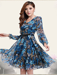 JFS Women'S Long Sleeve Floral Print Chiffon Dress