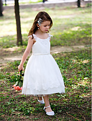 Princess Tea-length Flower Girl Dress - Satin Scoop with Lace