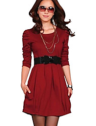 Women's Round Neck Bodycon Long Sleeve Short Dress
