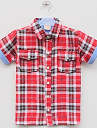 Boy's Cotton Casual Short-Sleeved Plaid Shirt Children's Clothing