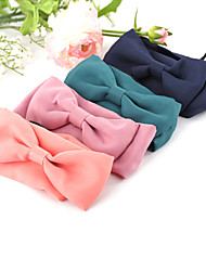 Solid Color Ribbon Bow Wide Elastic Headband Hair Accessory Hair Bands