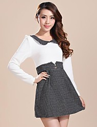 Women's Round Collar Dot Casual Fall Slim Vestidos Mini Dress