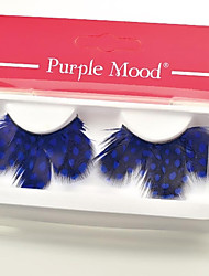 1 Pair Blue Spots 100% Handmade Feather with Plastic Black Terrier False Eyelashes