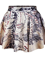 PinkQueen®  Women's Spandex Beige Map Printed Pleated Skirt