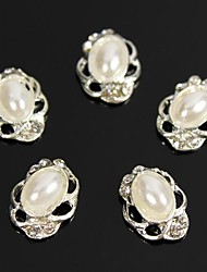 10pcs Vintage Design Oval Pearl Beads 3D Rhinestones Alloy Nail Art Decoration