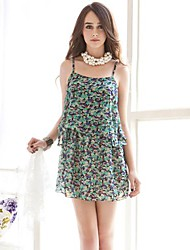 Women's Holiday Loose Dress,Floral Strap Above Knee Sleeveless Red / Green / Multi-color All Seasons