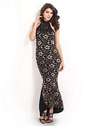 Women's Gorgeous Mermaid Halter Neck Long Lace Party Dress
