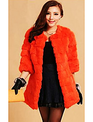 3/4 Sleeve Collarless Rabbit Fur Casual/Party Coat (More Colors)