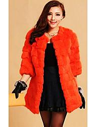 Manteau col fourrure de lapin casual / partie 3/4 manches (plus de couleurs)
