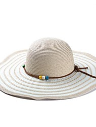 Unisex Concentric Stripes Beaded Large Brim Hat