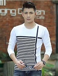 Men's Round Neck Fashion Casual Long Sleeve Stripes Splicing T-shirts