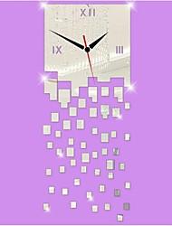 3D DIY Modern Style New Acrylic Irregular SquareMirror Wall Clock