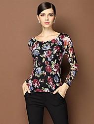 Damen Blumen Einfach Lässig/Alltäglich T-shirt,Rundhalsausschnitt Frühling / Herbst Langarm Mehrfarbig Undurchsichtig