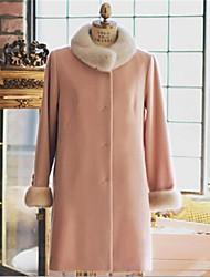 Women's Cute Faux Fur Collar Loose Wool Coat