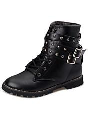 Zapatos de mujer - Tacón Bajo - Punta Redonda / Botas de Moto - Botas - Oficina y Trabajo / Vestido / Fiesta y Noche - Semicuero - Negro