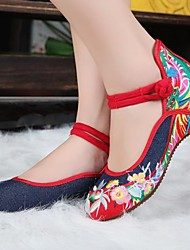 Women's Shoes Old Peking Mary Jane Flat Heel Demin Flats with Embroidery Soft Sole Casual Shoes