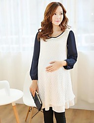 Maternity's Fashion Leisure Doll Collar Lace Maternity Dress
