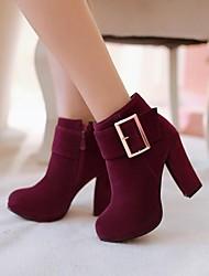 Women's Spring Fall Winter Leatherette Casual Chunky Heel Black Green Purple