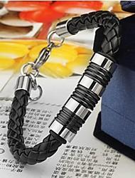 herenmode persoonlijkheid titanium staal lederen gevlochten armbanden
