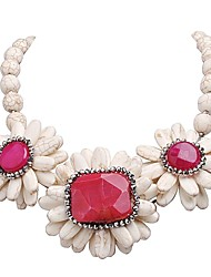JANE STONE Women's Fashion Casual White Pearls and Red Flower Necklace