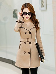 Women's Lapel Double-Breasted  Long Sleeve Minimalistic Trench Coat