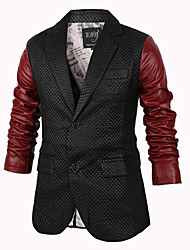 George Men's Foreign Trade Wholesale Korean Fashion Contrast Color Simple Causal Slim Multi-button Leather Joint Coat