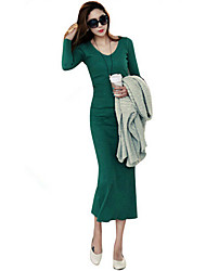 Long Sleeve Fashion Fitted Cotton Dress