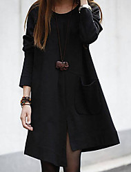 Women's Loose Plus A-line Dresses with Pockets