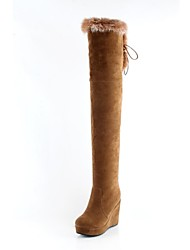 Women's Shoes Round Toe Wedge Heel Flocking Over The Knee Boots with Zipper More Colors available