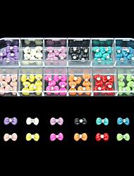 60PCS 12 Colours Magic Bowknot Resin Nail Art Decoration