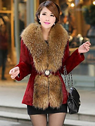 Women's Rabbit Hair Long In A Fur Coat