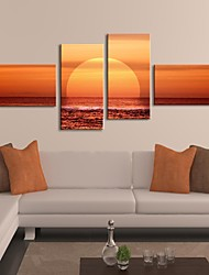 Stretched Canvas Art The Sunset On The Sea Set of 4